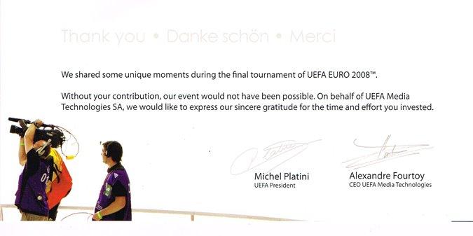 Die UEFA sagt Danke